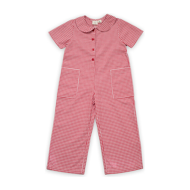 Mae Jumpsuit, Red Gingham Check