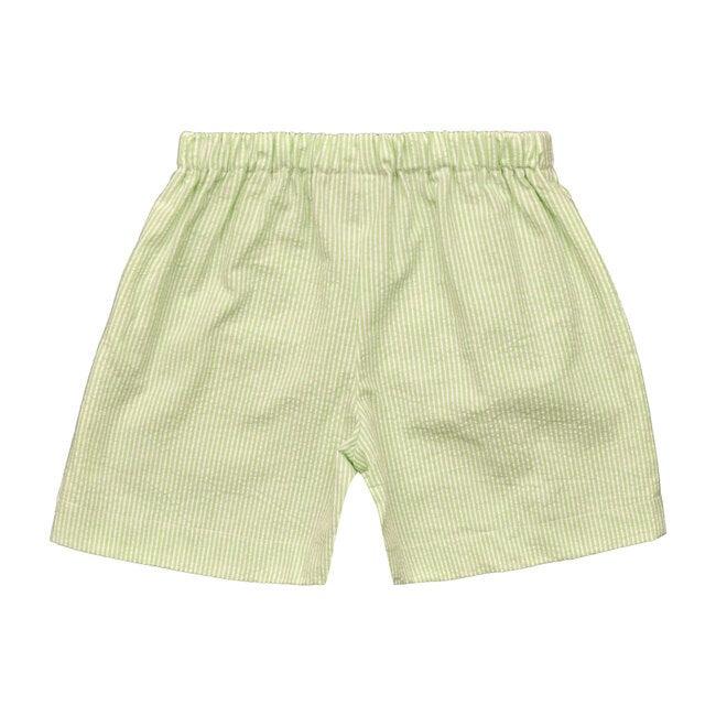 Jd Pull On Shorts, Green Seersucker Stripe