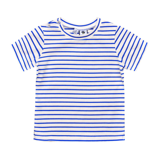 Henry Button Shoulder Tee, Royal Blue Stripe