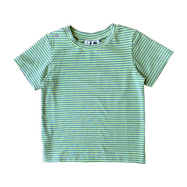 Henry Button Shoulder Tee, Mini Green Blue Stripe