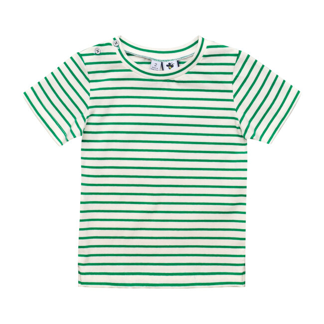 Henry Button Shoulder Tee, Green White Stripe