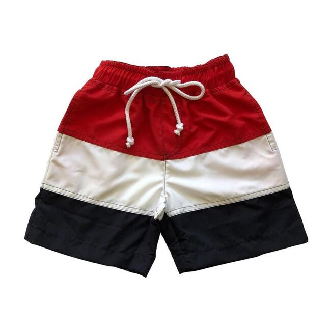 Chris Board Shorts, Red White Navy Colorblock