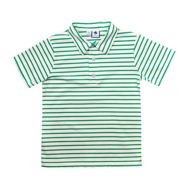 Busy Bees Short Sleeve Polo, Green White Stripe