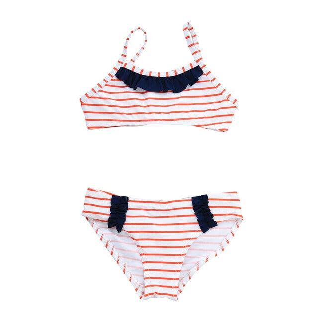 Ruffle Bikini, Red White Stripe