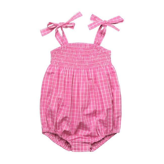 Ella Ruched Bubble, Pink Windowpane Check