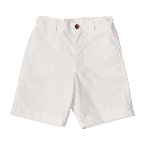 Alex Flat Front Shorts, White Cotton Poplin
