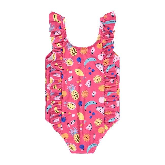 UPF 50 Girls Fruity Ruffle Swimsuit, Pink