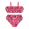 UPF 50 Girls Fruit Ruffle Two-Piece Swimsuit, Pink - Two Pieces - 2
