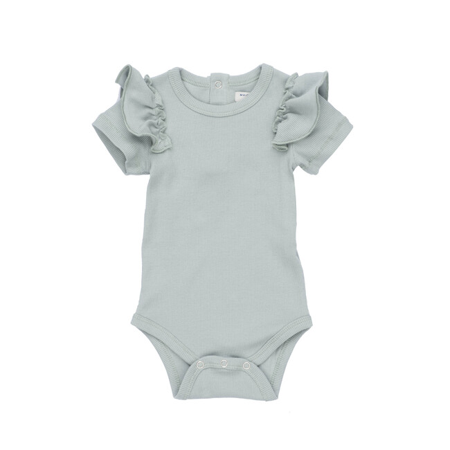 Eden Ruffle Shoulder Bodysuit, Dusty Blue