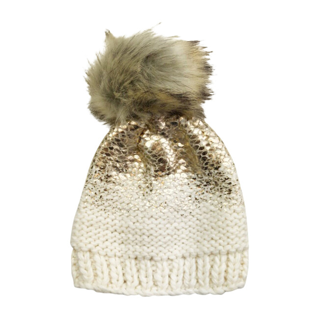 Beanie With Pom, Pearl, Cream, and Gold