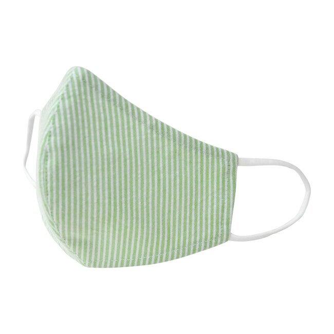 Cotton Face Mask, Green Seersucker Stripe