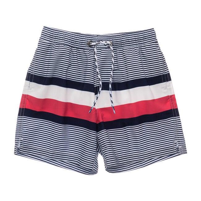 Navy Contrast Stripe Volley Board Short