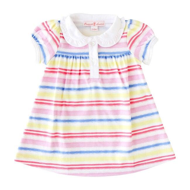 Rainbow Stripe Collared Dress