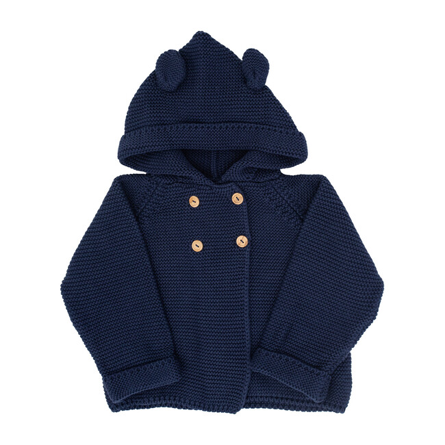 S+N Hooded Knit Button Sweater, Navy