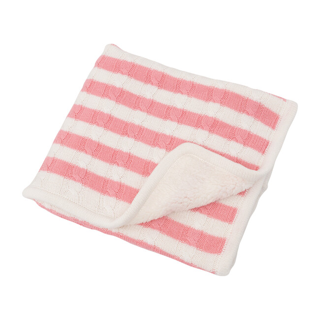 S+N Cable Knit Stripe Sherpa Blanket, Pink