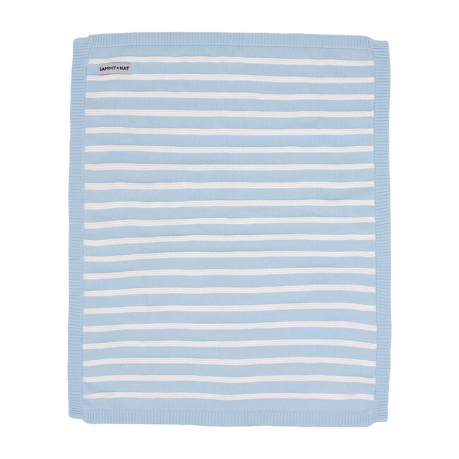 S+N Knit Stripe Blanket, Light Blue