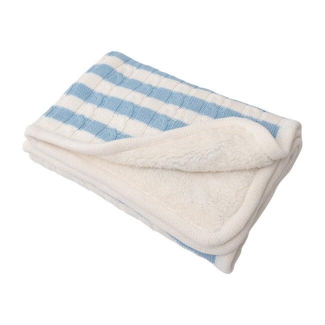 S+N Cable Knit Stripe Sherpa Blanket, Light Blue