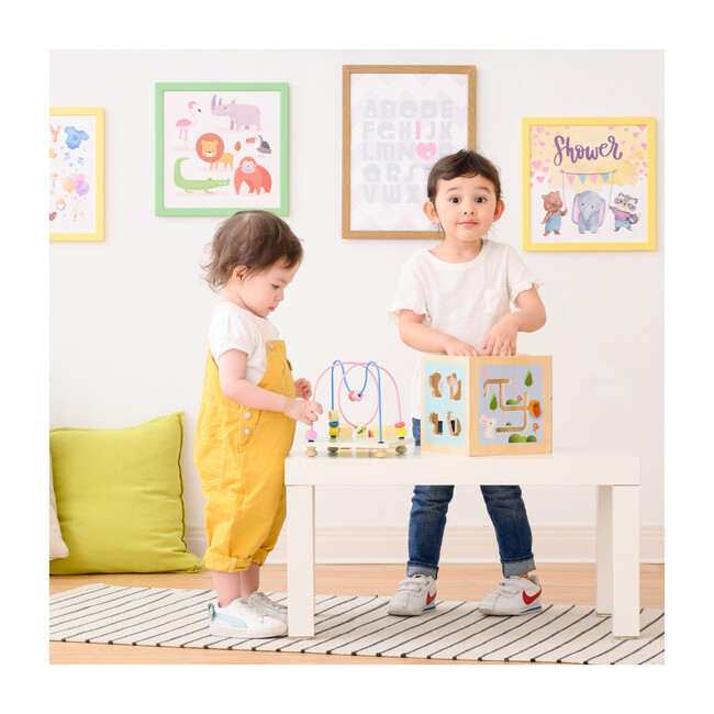 Preschool Play Lab Wooden Activity Learning 4-side Cube