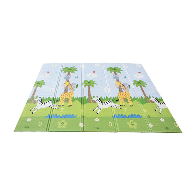 Safari Animal and Garden Insects Baby Crawling Play Mat, Blue/White