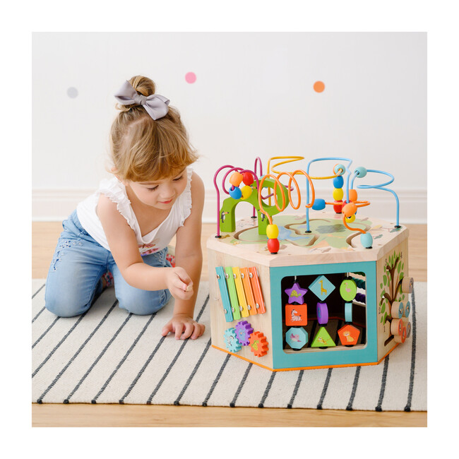 Preschool Play Lab Large Wooden Activity Learning 7-side Cube