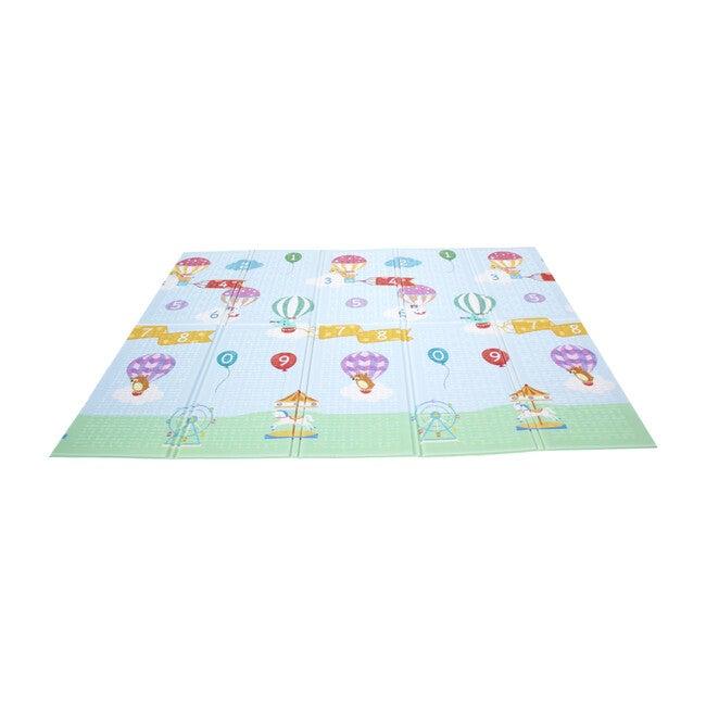 Hot Air Balloon Animals Baby Crawling Play Mat, Blue/Grey
