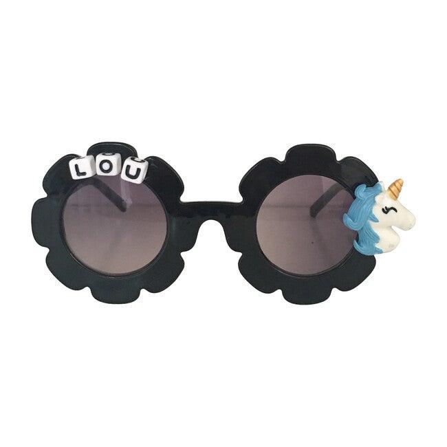 Monogrammable Light Blue Unicorn Sunglasses, Black