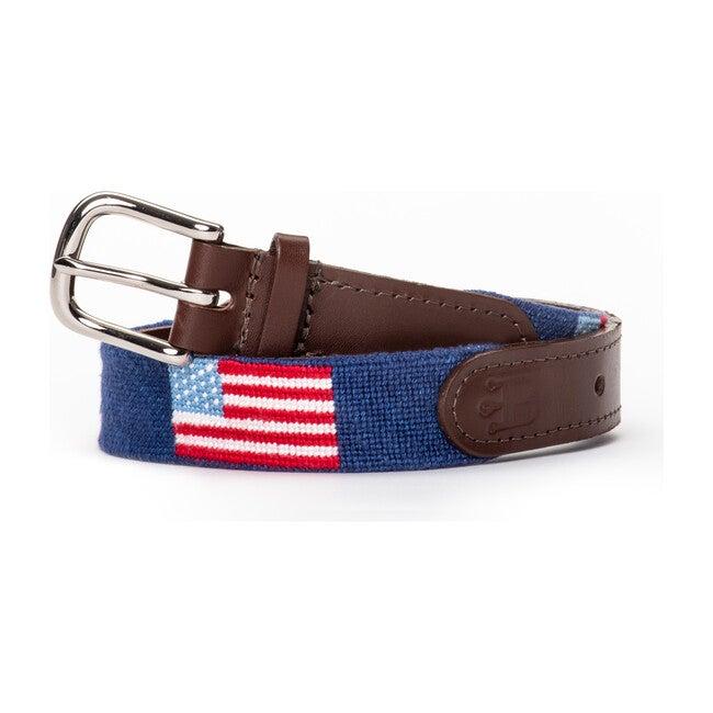 American Flag Needlepoint Belt, Blue