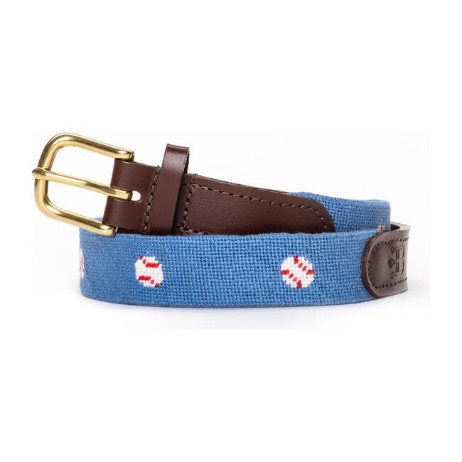 Baseball Needlepoint Belt, Blue