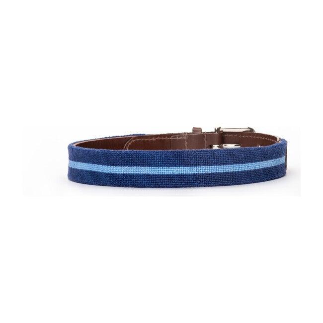Classic Blue Stripe Needlepoint Belt, Blue