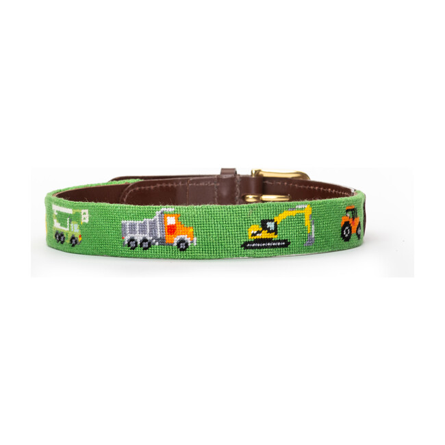 Time For Work Construction Needlepoint Belt, Green
