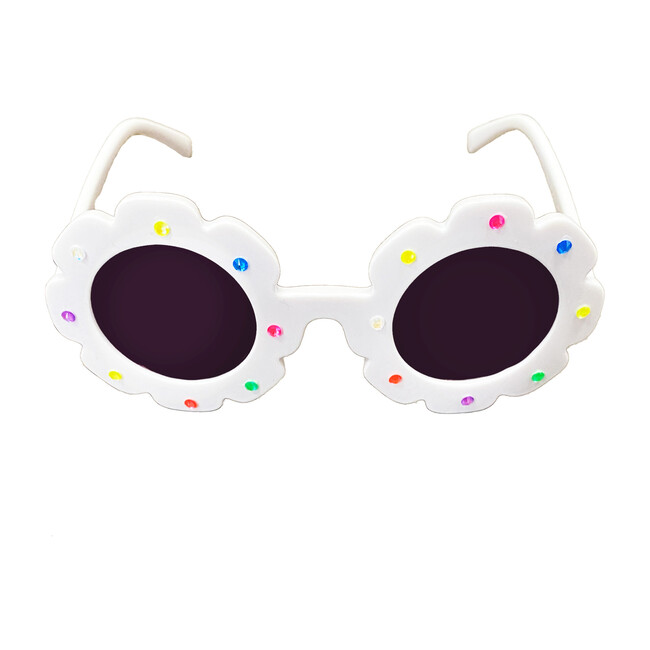 Flower Sunglasses With Stones, White