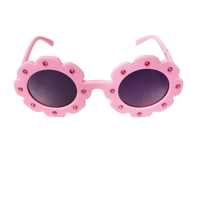 Flower Sunglasses With Stones, Light Pink
