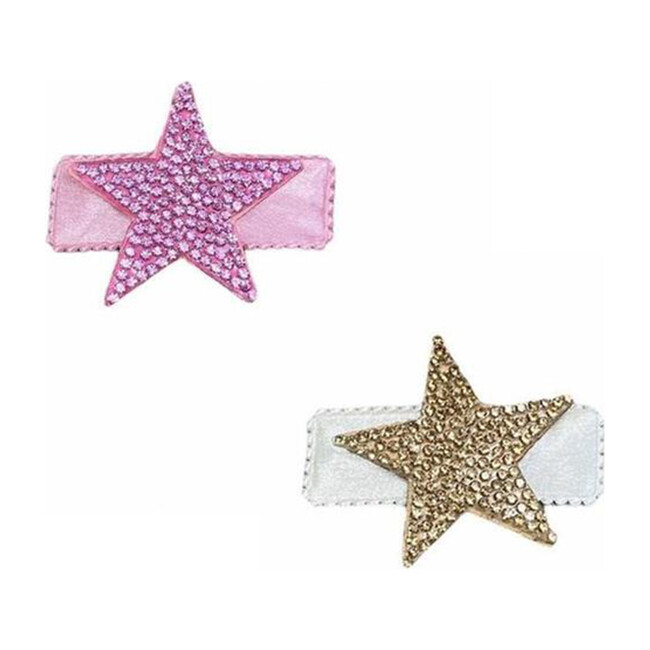 Small crystal Star Clip Set