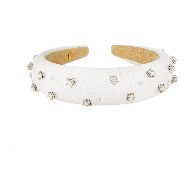 Padded Velvet Star Headband, White