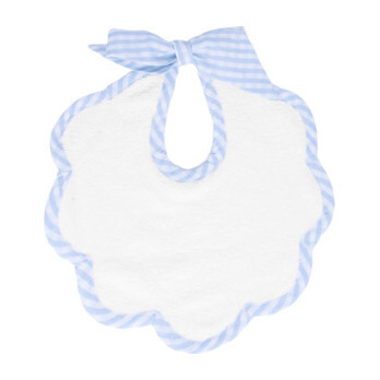 Scalloped Bib, Pale Blue Gingham