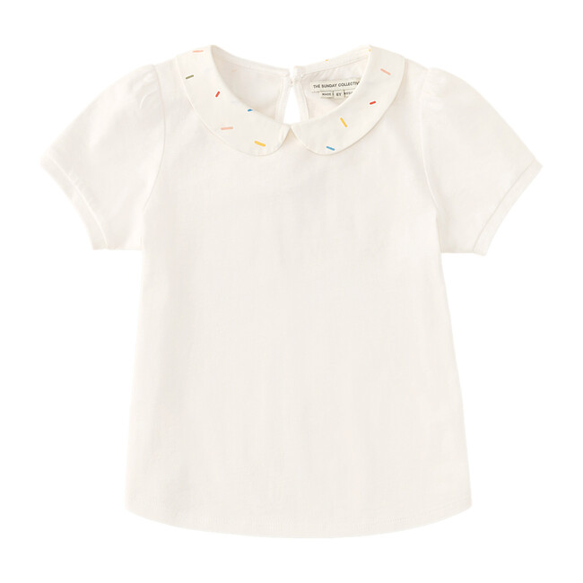 Puff Sleeve Polo with Sprinkle Collar, Bright White