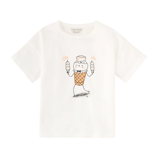 Ice Cream Man Drop Shoulder T-Shirt, Bright White