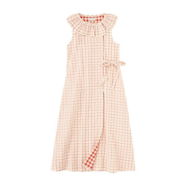 Windowpane Ruffle Wrap Dress, Coral Pink