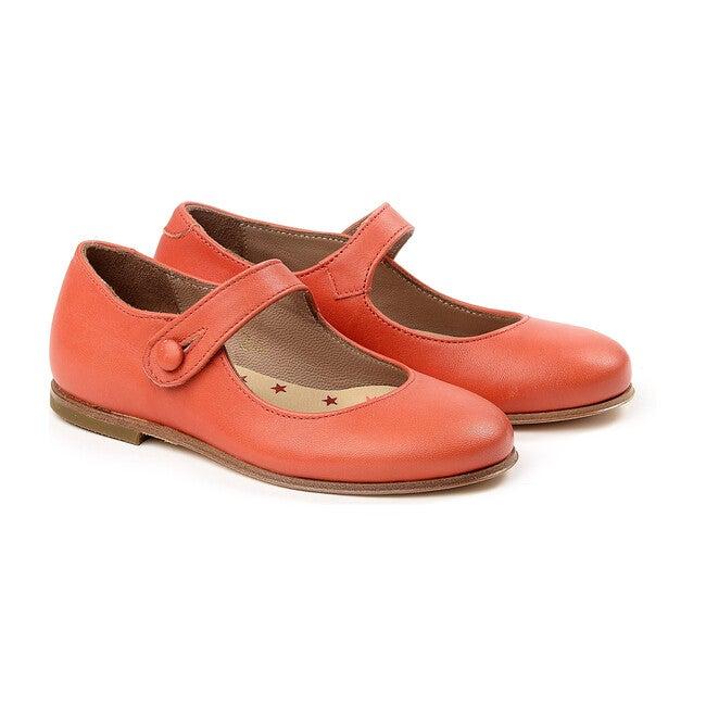 Button Strap Ballerinas, Red