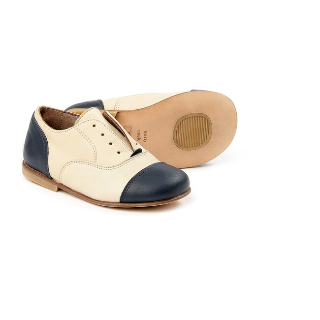 Lace-Up Shoes, Beige/Navy