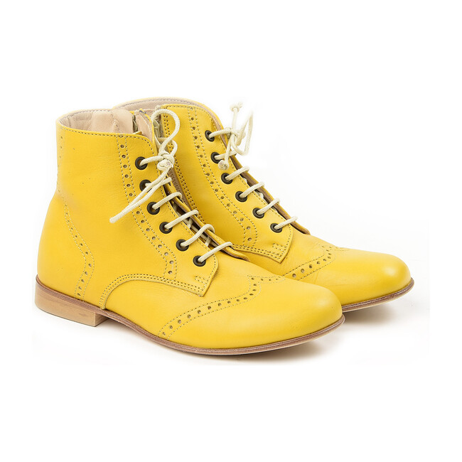 Lace-Up Ankle Boots, Yellow