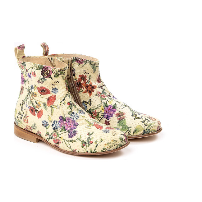 Floral Ankle Boots, White