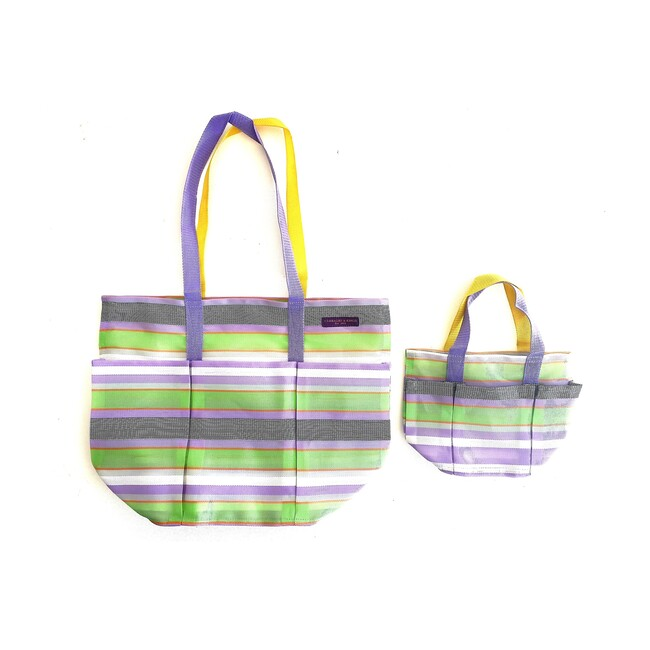 Lavender Checks Garden Pockets Galore Bag