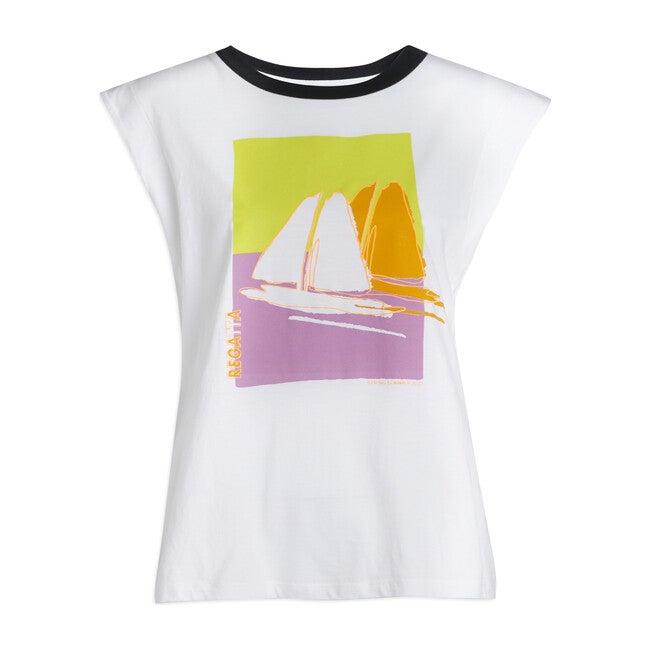 Women's Skylar Tee, Sailboat Print
