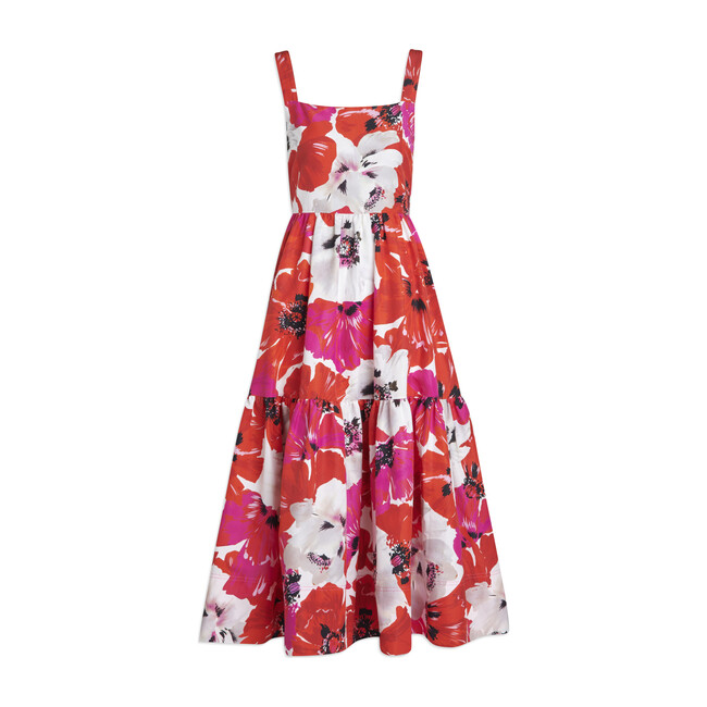 Women's Gia Dress, Red and Pink Poppy Print