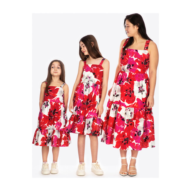 Gia Dress, Red and Pink Poppy Print