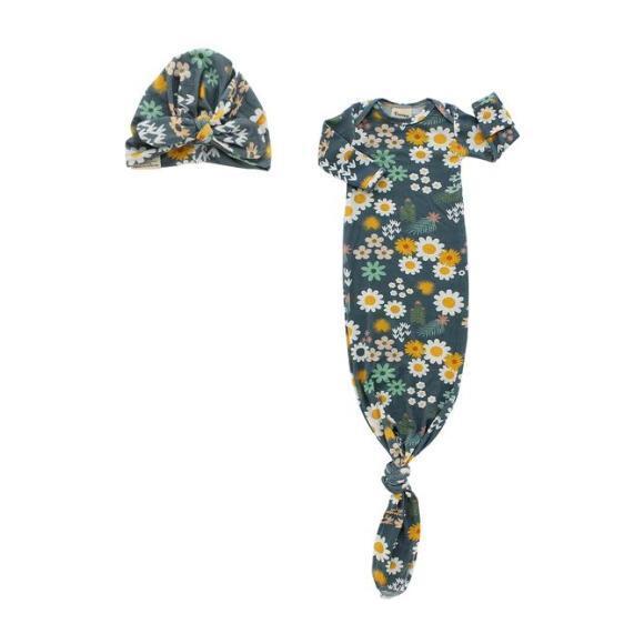Blue Daisy Newborn Gown Set