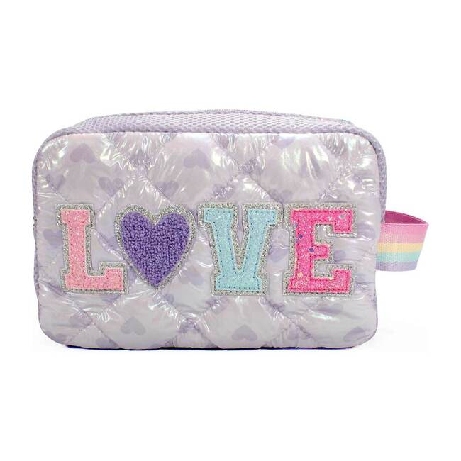 """""""Love"""" Heart Quilted Puffer Cosmetic Pouch, White"""