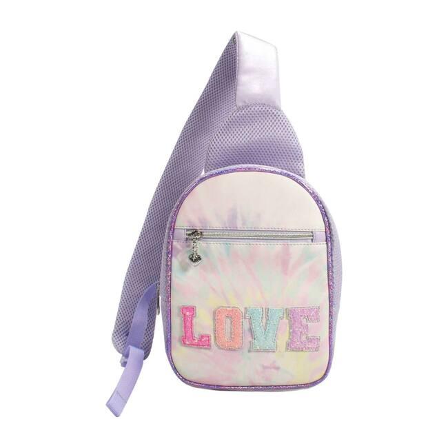 """Love"" Tie Dye Mini Sling Backpack, Lavender"