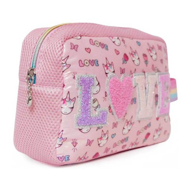 """""""Love"""" Miss Gwen Print Cosmetic Pouch & Sleep Mask Set, Pink"""